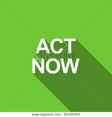act now flat icon  original modern design green flat icon for web and mobile app with long shadow