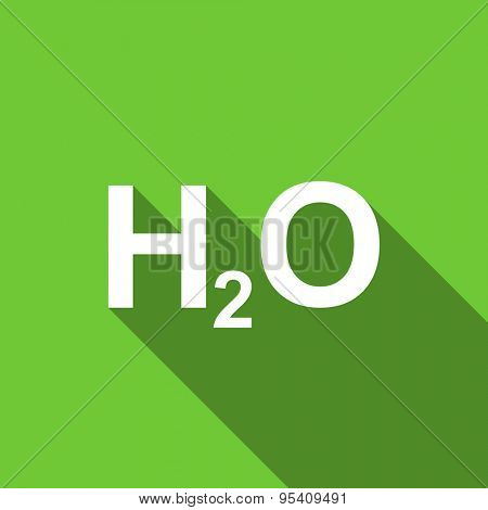 water flat icon h2o sign original modern design green flat icon for web and mobile app with long shadow