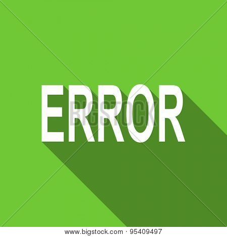 error flat icon  original modern design green flat icon for web and mobile app with long shadow