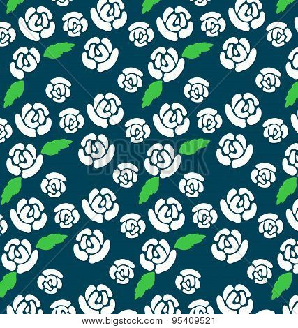 Pattern of white roses