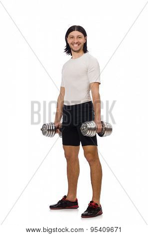 Man exercising with dumbbels isolated on white