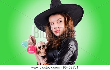 Witch against the gradient background