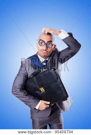 Funny nerd businessman against the gradient
