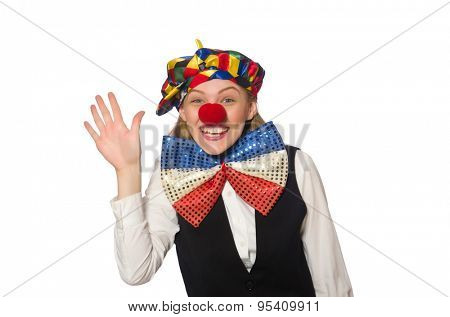 Pretty female clown isolated on white