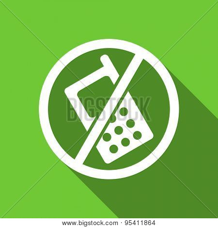 no phone flat icon no calls sign original modern design flat icon for web and mobile app with long shadow