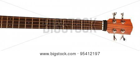 Neck of acoustic guitar isolated on white