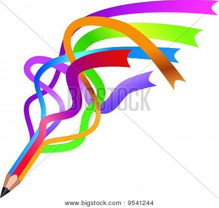 colorful ribbon pencil vector