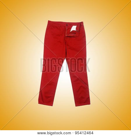 Fashion concept with trousers against gradient