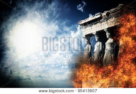 Acropolis on fire  Athens Greece