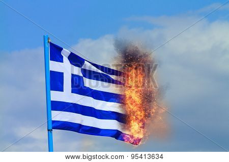 Greek Crisis National flag of Greece with European flag on background burning