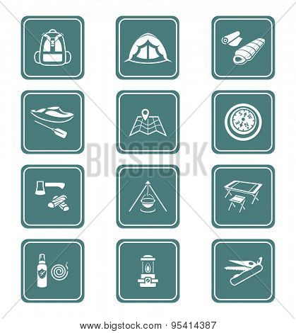 Camping equipment and tools teal icon-set