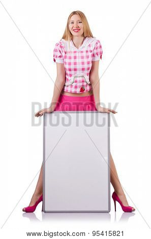 Pretty girl with poster isolated on white