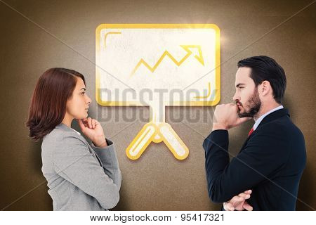 Concentrating businesswoman against grey