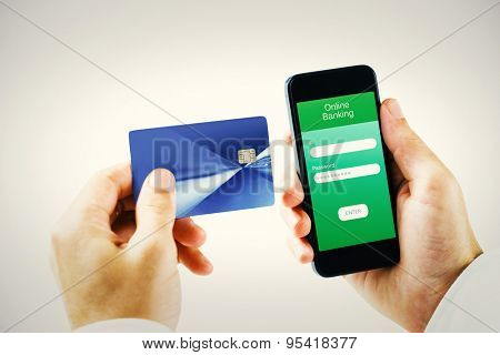 hand holding smartphone against white background with vignette