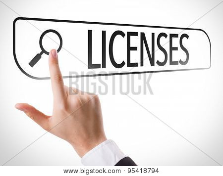 Licenses written in search bar on virtual screen