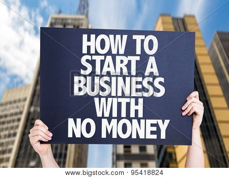 How To Start a Business With No Money card with urban background