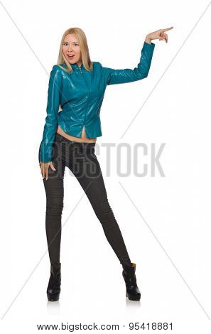 Pretty woman in blue leather jacket isolated on white