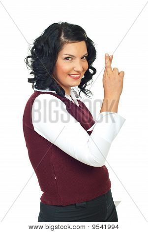Formal Woman With Fingers Crossed