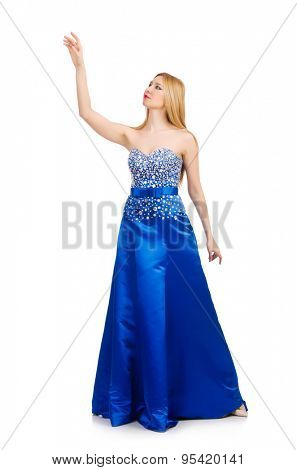 Woman in pretty blue evening dress isolated on white