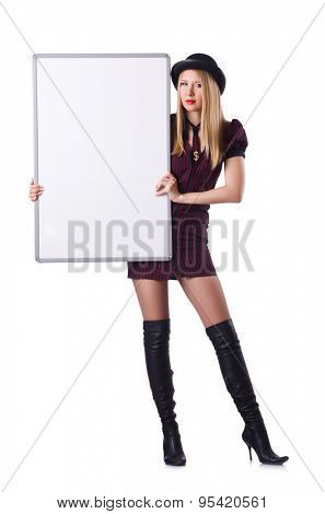 Pretty woman with blank board isolated on white