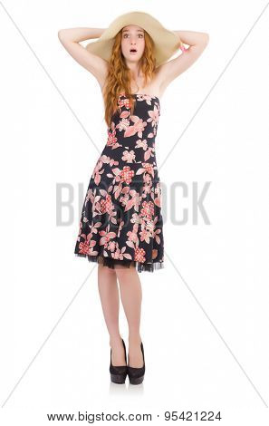 Young lady in floral dress isolated on white