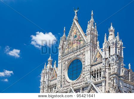 Detail of Siena cathedral in a sunny summer day, Tuscany, Italy, Europe.