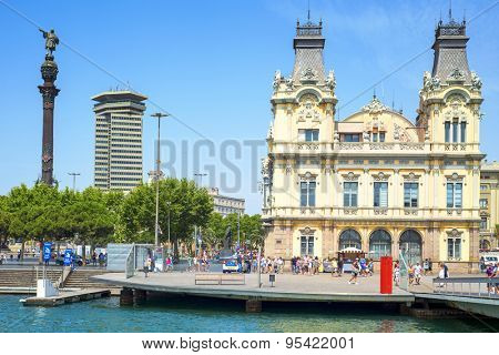 BARCELONA, SPAIN - JULY 4: Port Vell and Columbus Monument on July 4, 2015 in Barcelona, Spain. It is a 60 meters tall monument for Christopher Columbus at the lower end of La Rambla