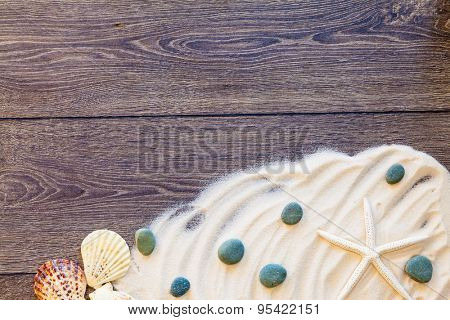 wood background with sea props