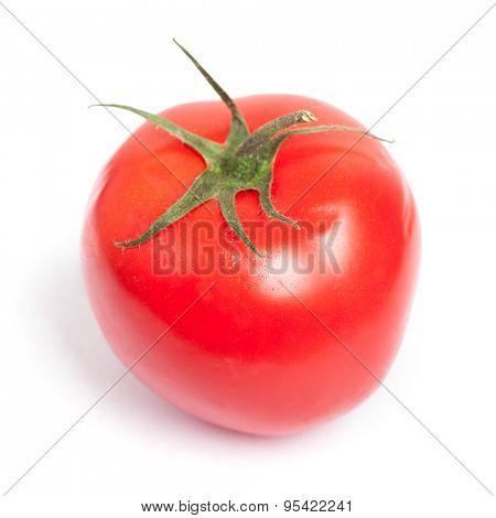 Single tomato isolated on white background