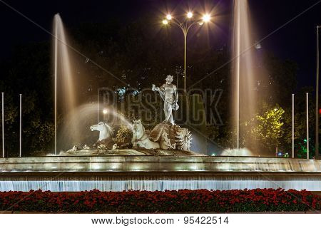 The fountain of Neptune in Madrid Spain - architecture background