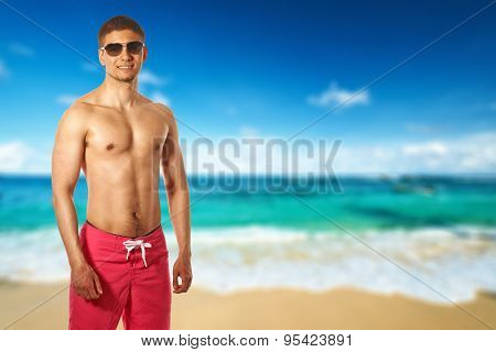 Man on beach at Seychelles, Mahe. Collage.