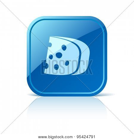 Cheese icon on blue web button. Vector illustration