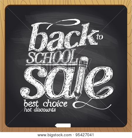 Back to school sale blackboard chalk design.