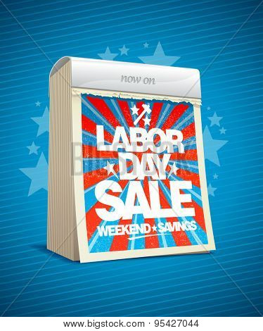 Labor day sale, weekend savings design in form of tear-off calendar. Eps10