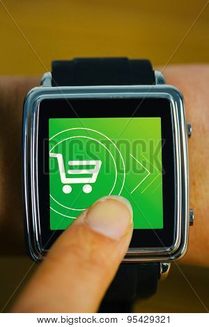 Businesswoman with smart watch on wrist against payment screen