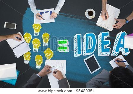 Business meeting against idea equation
