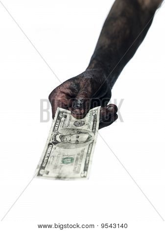 Dirty hand with money