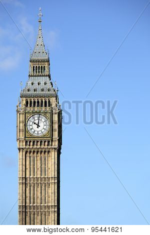 Big Ben Isolated Against A Deep Blue Sky