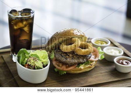 Hamburger and coke menu