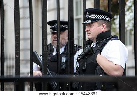British Policemen At Downing Street