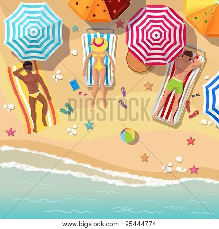 Beach top view background with sunbathers men and women
