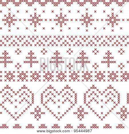 Xmas Seamless  Pattern Inspired By Nordic Cross Patterns