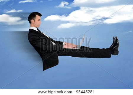 Business man speed fly using computer