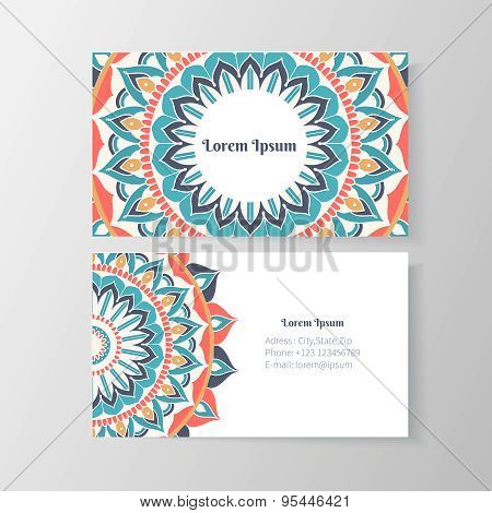 Business card with mandala floral pattern