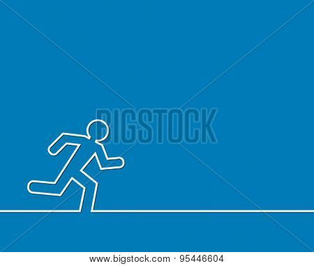 running man outline abstract background