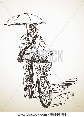 Sketch of bicyclist with umbrella, Hand drawn Vector illustration