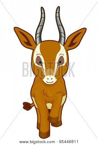Cutesy Illustration of a Gazelle Walking Gracefully