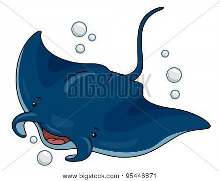 Cutesy Illustration of a Manta Ray Swimming in the Ocean