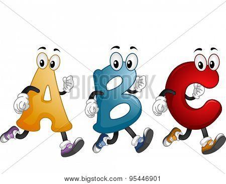Illustration of Alphabet Mascots Running Around