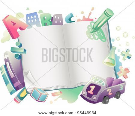 Illustration of an Open Book Surrounded by School Supplies